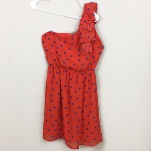 Orange One Shoulder Dress with Blue Polkadot Dress